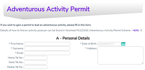 Adventurous Activity Permit