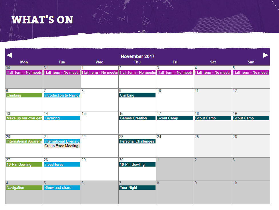Group What's On Calendar