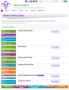 District Adult Training Diary Page
