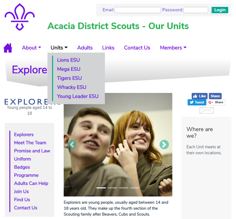 District Explorer Units Website