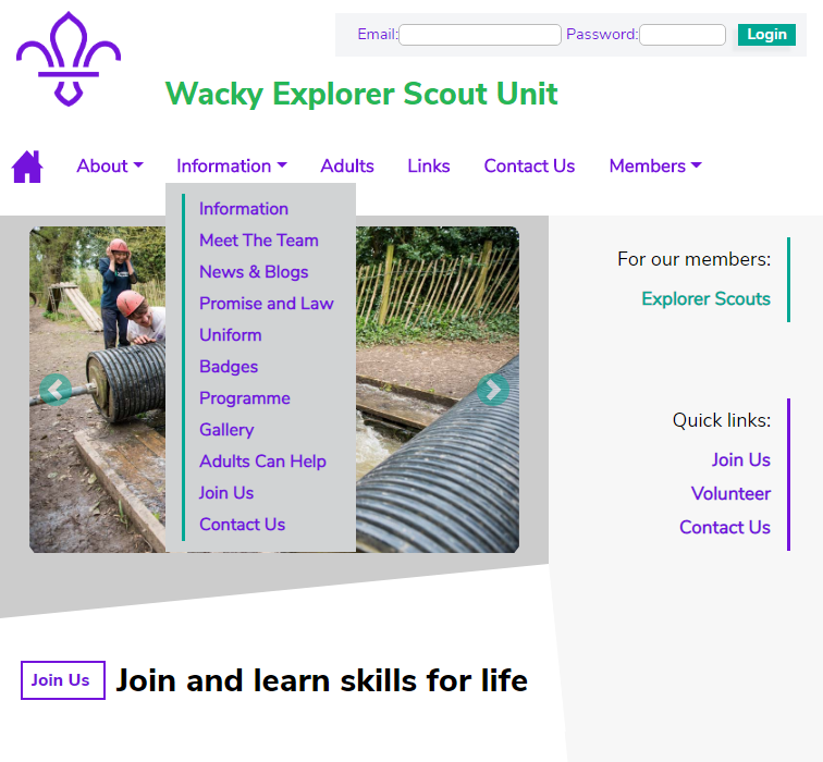 Single Explorer Scout Unit Website