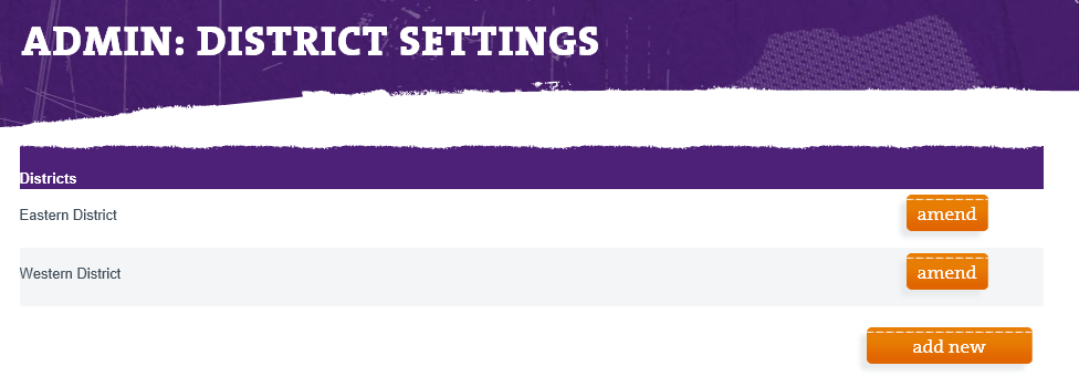 District Settings List