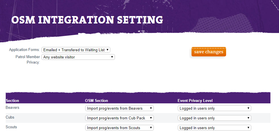 OSM Integration Settings